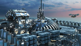 Futuristic city with marina and hoovering aircraft. Science fiction cityscape with metallic structures, marina and hoovering aircrafts for futuristic or fantasy