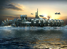 Futuristic city with marina and hoovering aircrafts. Science fiction cityscape with metallic structures, marina and hoovering aircrafts for futuristic or fantasy Stock Photo