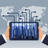 Futuristic city in modern device phone Stock Photography