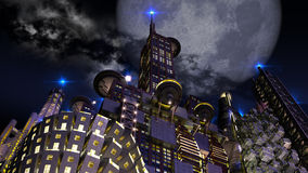 Futuristic city at night with looming giant moon. Futuristic cityscape at night, with an upper perspective on architectural structures and a giant looming blue vector illustration