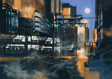 Futuristic city painting. Digital painting of futuristic sci-fi city vector illustration