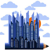 Futuristic city on pencil in clouds with sun Stock Images