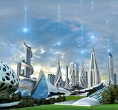 Futuristic city powered by an exotic energy source royalty free stock image