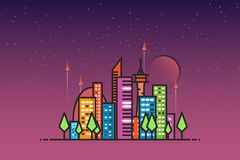 Futuristic city and rockets. Futuristic city with buildings and flying rockets. Starry sky and planet or moon. Gradients and retro colors. Flat style line modern Royalty Free Stock Photos