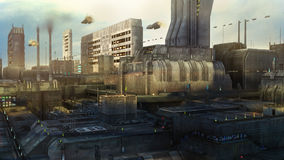 Futuristic city and ships Royalty Free Stock Image