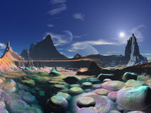 Futuristic City on Shores of Rainbow Pebble Bay. Walking down to the shores from Spectrum City – we have perfect conditions for visiting the breathtaking royalty free stock photo