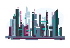 Futuristic city with skyscrapers. Futuristic abstract city with big buildings, neon signs. Rectangular shapes and simple forms. Flat style line vector royalty free illustration