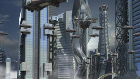 Futuristic city with skyscrapers and hoovering aircrafts. Futuristic cityscape with metallic skyscrapers and hoovering aircrafts for science fiction or fantasy