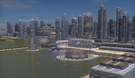 Futuristic city. A spacecraft reaches a metropolis of science fiction Royalty Free Stock Image