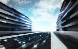 Futuristic city street in information age wallpaper Stock Photos