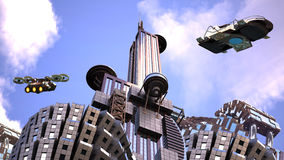 Futuristic city with surveillance drones. Futuristic cityscape in an upper perspective angle with architectural structures and drones flying against a blue sky royalty free stock photography