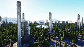 Futuristic city, town. Architecture of the future. Aerial view. Super realistic 4k animation.