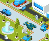 Futuristic city with transport. City landscape with various automobiles vector illustration