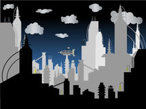 Futuristic City - Vector Background. Thriving huge cityscape of tomorrow rising into the clouds with flying machines Royalty Free Stock Image