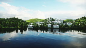 Futuristic city, village. The concept of the future. Aerial view. Realistic 4k animation.