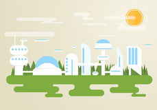 Futuristic city. With white buildings and houses. Forest on background, clouds and flying cars in the sky Royalty Free Stock Photos