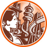 Futuristic City Woman Side Circle Woodcut Stock Image