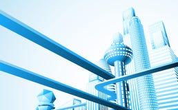 Futuristic cityscape Stock Images