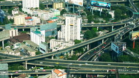 Futuristic cityscape aerial view panorama with cars moving on highway. Bangkok, Thailand stock video