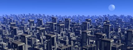 Futuristic cityscape - 3D render Royalty Free Stock Images