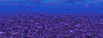 Futuristic cityscape - 3D render Royalty Free Stock Photo