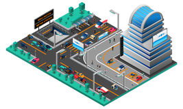 Futuristic Cityscape Isometric Composition Royalty Free Stock Photography