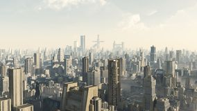Futuristic Cityscape. Science fiction illustration of the view across a futuristic sci-fi city, 3d digitally rendered illustration Royalty Free Stock Photography