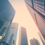 Futuristic cityscape with skyscrapers. Hong Kong Stock Photography
