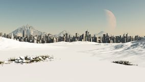 Futuristic Cityscape in Winter Snow Royalty Free Stock Photography