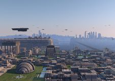 Futuristic civilization. Aerial view of a city of science fiction Stock Images