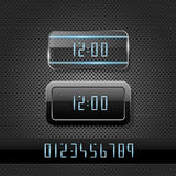 Futuristic clock on metal background Stock Images