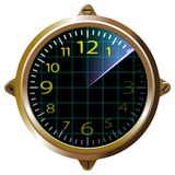 Futuristic clock yellow apparatus radar. Gauge dashboard touch user interface. Screen device and appliance, unit, isolated. Vector vector illustration
