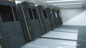 Futuristic clone machine. 3d rendering. Futuristic architecture and clone machine Royalty Free Stock Images