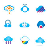 Futuristic cloud software technology app for mobile phones logo icons Stock Photo