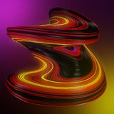 Colored abstract twisted shape. Futuristic colored abstract twisted shape on a vibrant color background. 3D render illustration Stock Photos