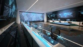 Futuristic command center interior, big displays, holographic interactive table, world map vector illustration