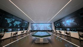 Futuristic command center interior, holograms and big screens. Modern design of command center interior. Multiple screens, and interactive table with holographic stock illustration