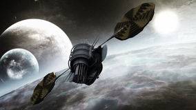 Futuristic Communication Satellite. On strange and distant orbit of an earth like planet Royalty Free Stock Images