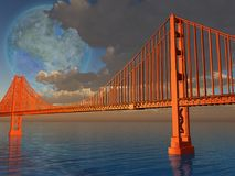Futuristic composition. Golden Gate Bridge Stock Photos