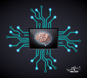 Futuristic computer brain Royalty Free Stock Photo