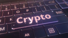 Futuristic computer keyboard and transparent crypto window. Conceptual 3D animation