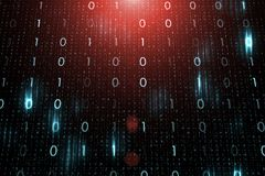 Futuristic computer network with binary numbers. Data illustration background Royalty Free Stock Images
