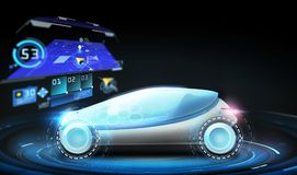 Futuristic concept car with gps navigator. Transport, navigation and future technology concept - futuristic concept car with gps navigator projection over black Stock Photo