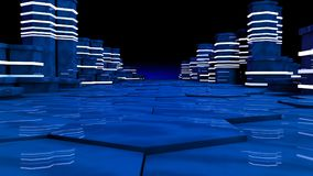 Futuristic concept of server room in datacenter. Big data storage, server racks with neon lights on black background. Technology and connection concept Stock Images