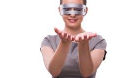 The futuristic concept with techno cyber woman  on white Stock Photo