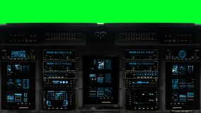 Futuristic Control Bridge on a Spaceship on a Green Screen Background. Futuristic Spaceship Cockpit Dashboard with Functional Monitors stock footage