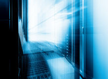 Futuristic control terminal of supercomputing cluster management in  data center. motion blur Stock Photos