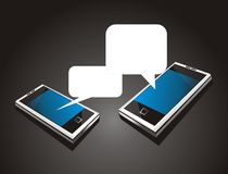 Futuristic cool  mobile phone. Black background  two mobile device talking in social media bubles Stock Photo