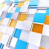 Futuristic copyspace background of cubic plates. Futuristic copyspace background made of orange and blue chaotic cubic plates royalty free illustration