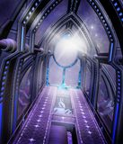 Futuristic corridor. With purple lights Royalty Free Stock Photography